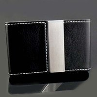 Wholesale Mens Leather Business Card Case - Mens Pocket Wallet Card Holder Gift fax Leather Magnetic steel Business Credit Card Case keeper Black OEM Free Shipping