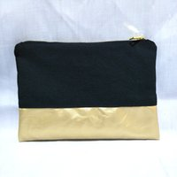 Wholesale canvas panels wholesale - black canvas cosmetic bag with waterproof gold leather bottom matching color lining and gold zip 7x10in makeup bag free ship by DHL