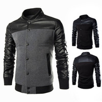 Wholesale Collar Designs Sweaters - 2017 new fashion leather stitching design Mens sweater collar British slim jacket