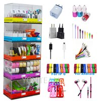 Wholesale Mobile Phones Smartphones - mobile phone portable accessories 10 in 1 mobile charger display box kits use for iphone smartphones with charger cable earphones in acrylic