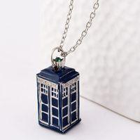 Wholesale Dr House - 2016 Vintage Dr. Mysterious Police Box House Pendant & Neckalces Doctor Who Pendant Necklace Halloween Pendants 3Colors Collar