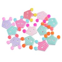 Wholesale Sewing Buttons Crown - 10PCs Crown Shaped Stripe Pattern 2-Hole Acrylic Buttons Random Mixed Color Fit Scrapbooking Sewing Crafts 2.1x2.6cm