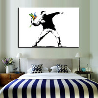 pintura de grafite branco preto venda por atacado-ZZ59 graffiti arte da parede da lona preto branco atirador de flores banksy canvas oil art pintura retrato da parede para sala de estar quarto parede
