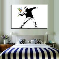grafiti blanco negro pintura al por mayor-ZZ59 graffiti lienzo arte de la pared negro blanco flor lanzador Banksy lienzo arte del óleo pintura imagen de la pared para sala de estar dormitorio pared