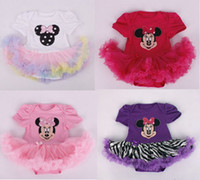 Wholesale One Piece White Baby - Children Sets The New Girl's One-piece Suits Mickey Baby Short Clothing Climbing Clothes Small Girls Dresses Cotton100% Size 0-24 m