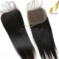 """Wholesale Lace Closure Top Piece - Human Hair Extensions 100% Brazilian Lace Closure Hair Pieces Human Hair Top Lace Closure Silky Straight 8""""-24"""" 4*4 Natural Color Bella Hair"""