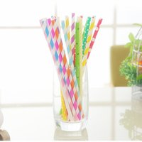 Wholesale Retro Paper Drinking - LOT 100 Candy Color Disposable Paper Striped Drinking Straw Retro Party Wedding Tableware for Party FREE SHIPPING
