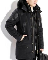 Wholesale Men S Leather Parkas - Limited edition Man Long Parkas sleeve with leather hood with black fox fur collar Gold scissors