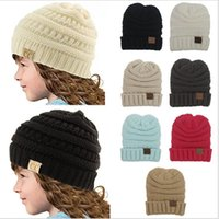 Wholesale Trendy Baby Colors - Kids CC Trendy Knitted Hat CC Crochet Beanie Hats Children Baby Chunky Skull Caps Winter Cable Knit Wool Caps Outdoor Headgear Hat 11 Colors
