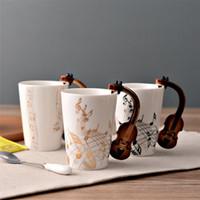 musikkeramik großhandel-Kreative Keramik Tasse mit Violine Griff Persönlichkeit Musik Hinweis Milch Saft Zitrone Kaffeetasse Kaffee Teetasse Home Office Drink beste Geschenk