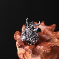 Wholesale african animals games - Game of Thrones Mother Dragon Ring Satan Worship Baphomet Ram Aries Zodiac Sheep Goat Head Horn Biker Ring Pentacle Satanic Lion Head rings
