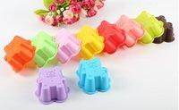 ingrosso muffa di silicone-Muffen Cup Muffen Cup Multicolor Casualmente Invia Cute Bear Shaped Cake Cake Mould Creativo strumento di cottura a casa