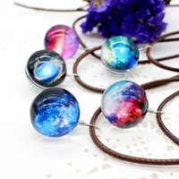 Новые звезды Ball Glass Collares Duplex Planet Crystal Galaxy Pattern Кожаная цепочка Подвеска Maxi Ожерелье для Womem Girlfriend Gift