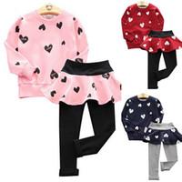 Wholesale Pantskirt Leggings - Autumn Winter Clothing Sets Baby Girls Long Sleeve T-shirt +Pantskirt Kids Two Pieces Heart Fleece Leggings Sets