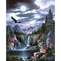 Wholesale Green Painting Wall Decors - Wonderland Eagle Waterfall DIY Diamond Painting 5D Diamond Mosaic Cross Stitch Embroidery Handmade Home Wall Decor Gifts (Free Shipping)