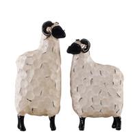 niedliche hochzeit handwerk großhandel-1 stücke Kreative Nette Weiße Schafe Handwerk Wohnaccessoires Wohnzimmer Dekorative Ornament Harz Handwerk Hochzeitsgeschenk Familie Weihnachtsgeschenk