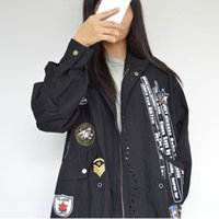 Wholesale Woman Trench Coat Free Pattern - free shipping Fashion Spring design rivet trench letter epaulet coats zipper women clothing