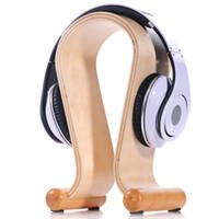 kopfhörerhalter stehen großhandel-2015 neue hölzerne omega kopfhörer ausstellungsstand steht kopfhörer halter headset aufhänger für marke headset headsets kumpel freies schiff