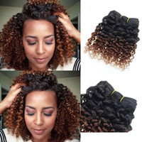Wholesale Dyed Virgin Deep Weave - Human Hair Extensions Brazilian Virgin Hair Kinky Curly weave 6 Bundles 8 inch short bob Ombre weave 1b 33# Deep Curly Hair Products