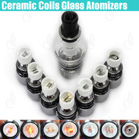 Wholesale E Dry Herb Vaporizer - Top Glass globe atomizer Pyrex Wax dry herb Tank vaporizer herbal dual ceramic Quartz Dome coils glassomizer vape pen vapor e cigs Atomizers