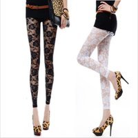 Wholesale Sexy Footless - Wholesale- Sexy Lady Punk Lace All-Match Leggings Woman Through Leggings Pants Footless Rose Hollow Out Engine Leggings