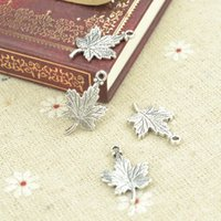 Wholesale Wholesale Maple Leaf Necklaces - wholesale 120pcs Retro silver charms Maple Leaf pendants for diy necklace & bracelets jewelry accessories 23*15mm 21103