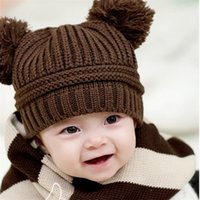 Wholesale Grey Newborn Hat Knitted - Popular Baby Girls Boys Dual Ball Knit Sweater Cap Kids cotton Hats Children Winter Warm Knitted 5 Colors available