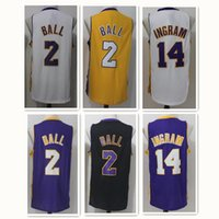 Wholesale Top Sale Cheap Jerseys - 2017 New #2 Ball jersey 14 Ingram jersey 100% Stitched Embroidery Logos jersey Top quality men's jerseys Cheap Sale Free Shipping