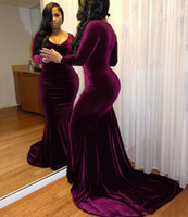 Wholesale Long Gowns For Women - Purple Velvet Cheap Prom Dresses 2017 Plus Size Long Sleeves Deep V Neck Formal Gowns Party Dresses Every Wear For Women