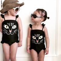 Wholesale Cute Girls Bathing Suits - kids cat swimwear cute girls cartoon printing swimsuit Kids Black Bathing Suit Children Summer printed one piece bathing suit 28yt