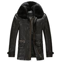 Wholesale Leather Jackets Mink Collar - Fall-KUYOMENS ePacket Free Shipping PU Leather Thick Jackets Mens Coat Mink Collar Windproof Men's Leather Jackets Casual Coats