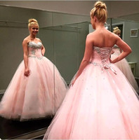 Wholesale Corset Full Length Prom Dress - 2016 Pink Ball gown quinceanera dresses sweetheart corset backless full length sweet 16 prom gowns BA2309