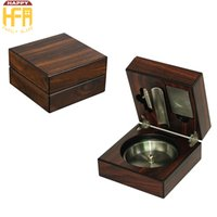 Wholesale Stainless Ashtrays - 12*12*6.5Cm Cigarette Case Stainless Steel Wooden Cigarette Ashtray Tobacco Boxes With Cigar Cutter Puncher Holder Walnut Cigar Cases