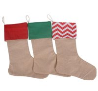 Wholesale Cheap Cotton Gift Bags - New hot 30*45cm cheap Christmas canvas stocking gift bag Christmas cotton canvas socks bags Christmas decorations