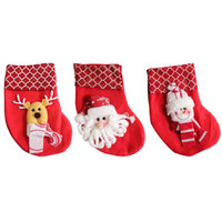 ingrosso grande sacchetto di santa-Mini grandi calze di Natale Calze Party Xmas Tree Decoration Babbo Natale Cervo orso pupazzo di neve Candy Gift Bag Decor Festival Ornament