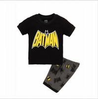 Wholesale Boys Batman Tops - Summer 2017 Children Clothes Spider-man Batman Top T-shirt +Shorts Children's Clothing Set new hight qualith sets
