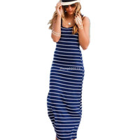 Wholesale Slim Vest Dress Women - 2016 New Women Boho Striped Slim Long Dresses Sleeveless Beach Vest Bodycon Maxi Dresses Sundress Summer Fashion Girls' Clothing