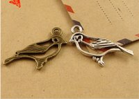 Wholesale Tibetan Silver Bird Beads - A3693 15*27MM Antique Bronze Alloy die-casting factory accessories bird charm beads, dove Pendant, tibetan silver charm animal jewelry