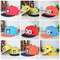 Wholesale Crocheted Girl Minion Hat - 300PCS LJJH573 Despicable Me minions kids baseball cap batman Children caps kid hats minions of head cap baby hats
