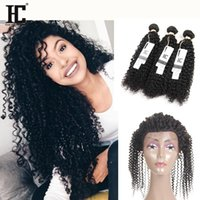 Wholesale Curly Pcs Closure - 8A Grade 360 Lace Frontal With 3 Bundles Brazilian Virgin Hair Kinky Curly Weaves with Full Frontal Closure Pre Plucked 4 pcs Lot