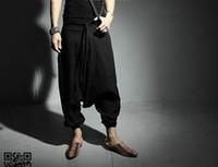 kasık pantolon kadınları bırak toptan satış-YENI Erkekler Kadınlar Japon Samurai Tarzı Boho Casual Düşük Bırak Crotch Gevşek Fit Harem Baggy Hakama Capri Kesilmiş Keten Pantolon Pantolon