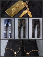 Wholesale Golden Pants - Senior designer brand 2016 bicycle robin jeans Manual paste crystal golden wings black robin jeans Men's fashion crime zipper pants