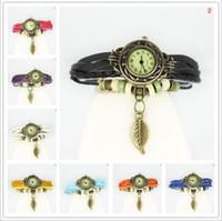 Wholesale Bracelet Bangle Retro Watch - Retro Vintage Watch Weave Wrap Leaf Pendant Leather Bracelet Bangle Analog Quartz Wristwatches For Christmas Birthday Gift Jewelry