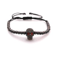 Wholesale Skull Bracelets Rose - Wholesale-Anil Arjandas Men Women Bracelets Gold Plated 4 MM Round Beads Micro Black Silver Gold  Rose Gold Plated Skull Bracelet