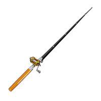 Wholesale Heavy Fishing Reel - Mini Portable Fishing Rod Aluminum Alloy Pocket Pen Shape Fish Pole With Reel 6 Colors DHL Free Shipping 2508027