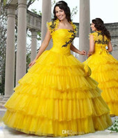 Wholesale Christmas Quinceanera Dresses - Yellow Quinceanera Dresses With Jacket Tulle Ball Gown Sweetheart Sleeveless Lace Up Floor Length Christmas Dress Custom Made