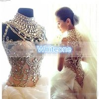 Wholesale Swarovski Beaded Wedding Dresses - Swarovski Crystals Beaded A Line Wedding Dresses High Neck Illusion Bodice Cascading Ruffles 2016 Custom Made Bridal Gown For Church Wedding