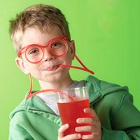 Wholesale Party Funny Drinking - Funny Soft Glasses Straw Unique Flexible Drinking Tube Kids Party Accessories Colorful Plastic Drinking Straws