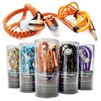 micro pack achat en gros de-Zipper Casque 3.5mm Stéréo Musique Casque Jack Bass Écouteurs Avec Micro Pour iPhone 7 6 Plus 5 S Samsung S6 S5 avec pack