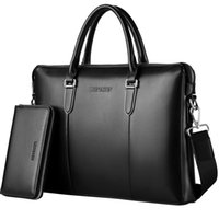 Wholesale Leather Laptop 17 - Wholesale- 17 Genuine leather men messenger bags business Leather laptop bag men bag men's briefcase Tote shoulder laptop men's travel bag